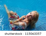 young blonde woman in the... | Shutterstock . vector #115063357