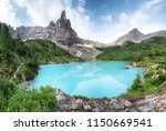 mountains and turquoise lake in ... | Shutterstock . vector #1150669541