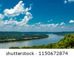 high view of bend in ohio river ... | Shutterstock . vector #1150672874