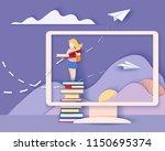 back to school 1 september card....   Shutterstock .eps vector #1150695374