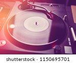 club dj equipment on stage in... | Shutterstock . vector #1150695701