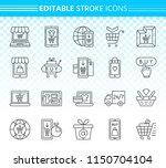 online shop thin line icon set. ...   Shutterstock .eps vector #1150704104