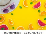 summer composition arranged in... | Shutterstock . vector #1150707674
