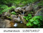 smooth flowing forest falls... | Shutterstock . vector #1150714517
