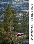 nylon hammock at a campsite...   Shutterstock . vector #1150714571