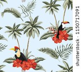 tropical vintage red hibiscus... | Shutterstock .eps vector #1150717091