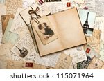 old papers  french post cards... | Shutterstock . vector #115071964