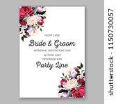 red marsala white rose wedding... | Shutterstock .eps vector #1150730057