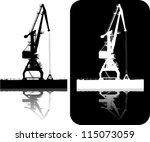 silhouette of the port crane on ... | Shutterstock .eps vector #115073059