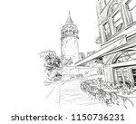galata tower.street cafe.... | Shutterstock .eps vector #1150736231