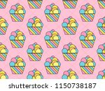 cupcake seamless pattern.... | Shutterstock .eps vector #1150738187