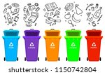recycling garbage elements. bag ... | Shutterstock .eps vector #1150742804