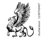 sketch of griffin. hand drawn... | Shutterstock .eps vector #1150743407