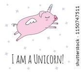 cute pig as pegasus and unicorn....   Shutterstock .eps vector #1150747511