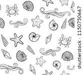 black and white seashell... | Shutterstock .eps vector #1150750667