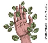 human hand with leaves growing... | Shutterstock .eps vector #1150752317