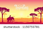 silhouette african elephants... | Shutterstock .eps vector #1150753781