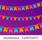 banner with garland. festive... | Shutterstock .eps vector #1150756577