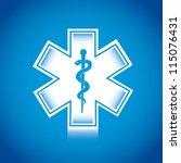 white medical sign over blue... | Shutterstock .eps vector #115076431