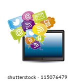 tablet computer with... | Shutterstock .eps vector #115076479
