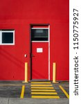 a bright red building with a... | Shutterstock . vector #1150775927