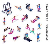 people doing fitness and yoga... | Shutterstock .eps vector #1150775951