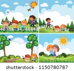 a set of children playing in... | Shutterstock .eps vector #1150780787