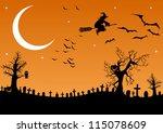 halloween cemetery | Shutterstock .eps vector #115078609