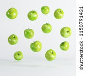 green apples floating on white... | Shutterstock . vector #1150791431
