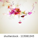 beautiful fashion women with... | Shutterstock .eps vector #115081345