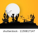 castle halloween text banner... | Shutterstock .eps vector #1150817147