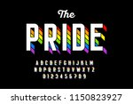 rainbow flag colors font ... | Shutterstock .eps vector #1150823927