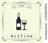 bottle of wine and wineglass... | Shutterstock .eps vector #1150854851