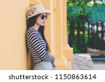 close up shot of stylish young... | Shutterstock . vector #1150863614