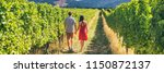 winery vineyard tourists couple ... | Shutterstock . vector #1150872137