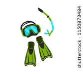 snorkeling mask and swimfins...   Shutterstock .eps vector #1150873484