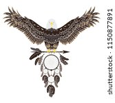 stylized bald eagle with... | Shutterstock .eps vector #1150877891