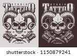 skull with horns and tattoo... | Shutterstock .eps vector #1150879241