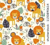 seamless pattern with cute lion ... | Shutterstock .eps vector #1150890614