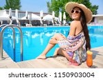 beautiful young woman with... | Shutterstock . vector #1150903004