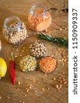 raw cereals set on wooden...   Shutterstock . vector #1150909337