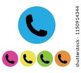 black phone icon symbol set in...