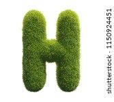 grass font 3d rendering letter h | Shutterstock . vector #1150924451