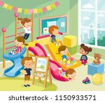 children having fun on playroom ... | Shutterstock .eps vector #1150933571