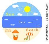 sun  clouds  bird  sea  waves ... | Shutterstock .eps vector #1150945604
