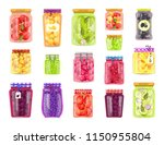 preserved vegetables and fruits ... | Shutterstock .eps vector #1150955804