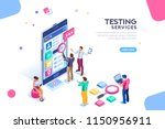 testing process  coding team on ... | Shutterstock .eps vector #1150956911