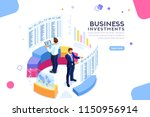 businessman  isometric chart on ... | Shutterstock .eps vector #1150956914