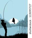 Fisherman Landscape Vector...