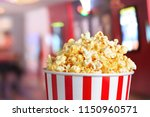 popcorn blast salty box in... | Shutterstock . vector #1150960571